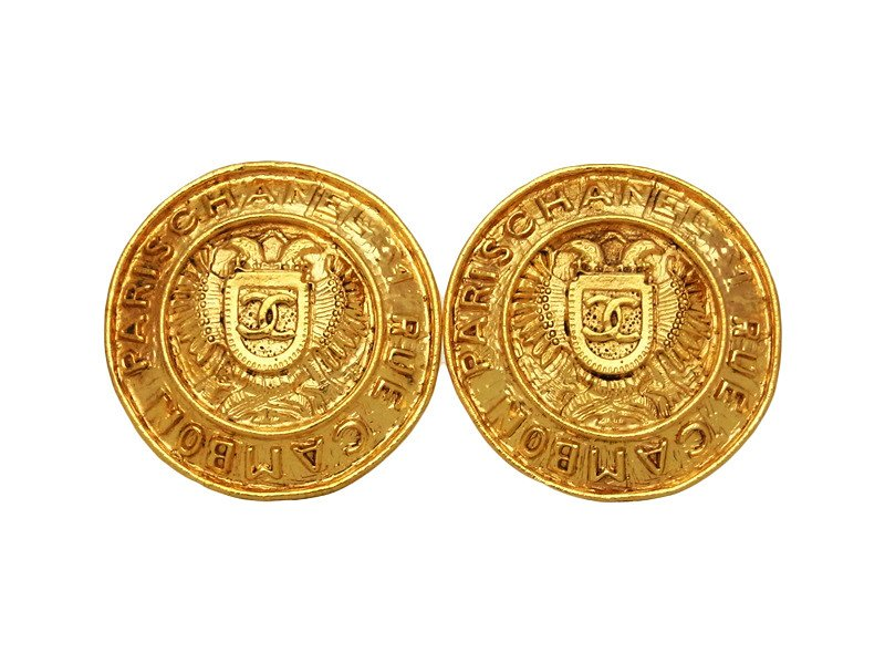 "Image of ""Chanel CC Logo Gold Tone Metal Round Large Earrings"""