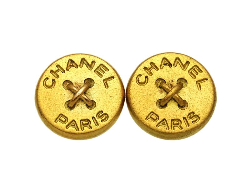 "Image of ""Chanel CC Logo Gold Tone Metal Button Round Earrings Logo"""