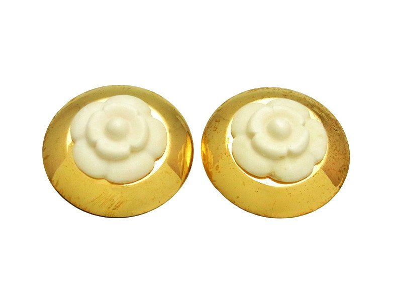 """Image of """"Chanel CC Logo Gold Tone Metal White Camellia Round Earrings"""""""