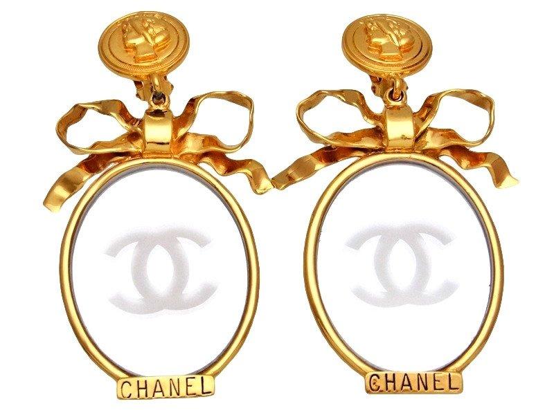 "Image of ""Chanel CC Logo Gold Tone Metal & Mirror Dangle Earrings"""