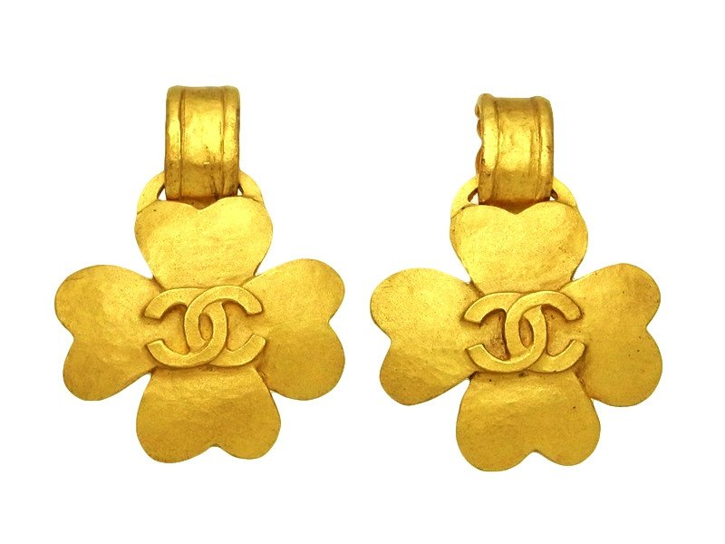 "Image of ""Chanel CC Logo Gold Tone Metal Clover Dangle Earrings"""