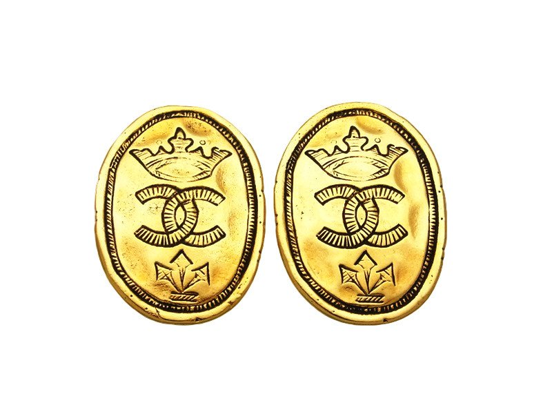 "Image of ""Chanel CC Logo Gold Tone Metal Crown Round Earrings"""