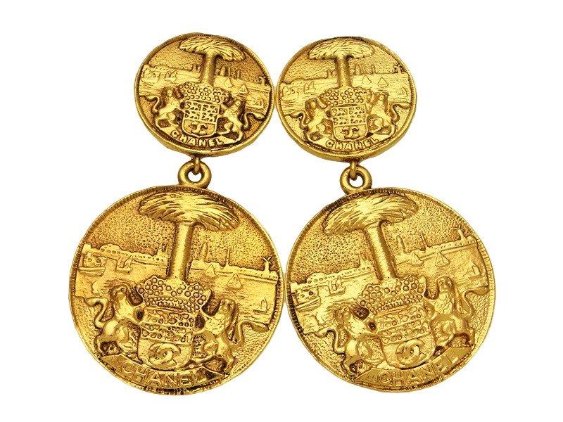 "Image of ""Chanel CC Logo Gold Tone Metal Dangle Medallion Earrings"""