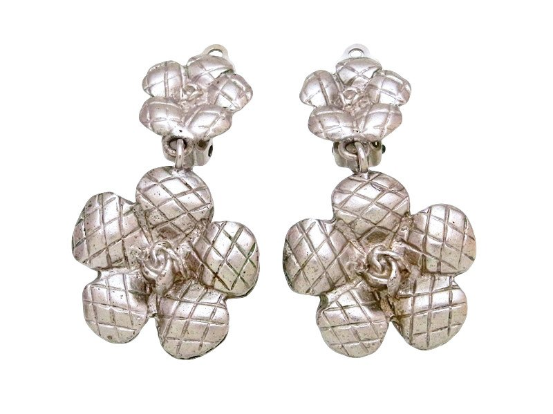 "Image of ""Chanel CC Logo Silver Tone Metal Camellia Flower Dangle Earrings"""
