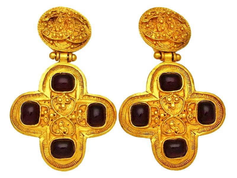 "Image of ""Chanel CC Logo Gold Tone Metal Red Stone Cross Dangle Earrings"""