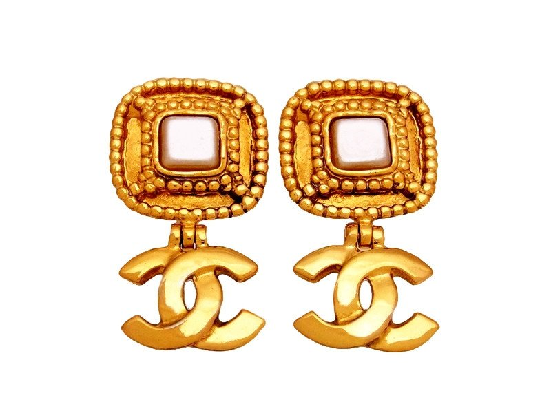 "Image of ""Chanel CC Logo Gold Tone Metal Pearl Dangle Earrings"""