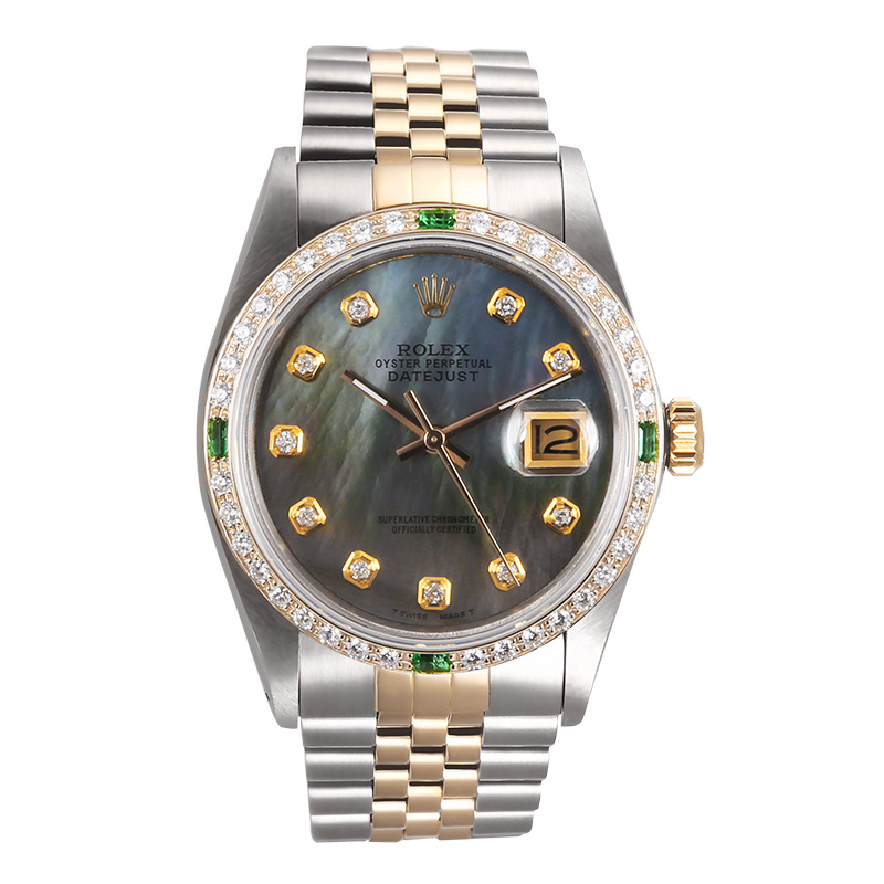 "Image of ""Rolex Datejust 18K Yellow Gold & Stainless Steel MOP Emerald & Diamond"""