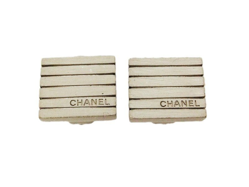 "Image of ""Chanel CC Logo Silver Tone Metal Quad Small Clip On Earrings Logo"""