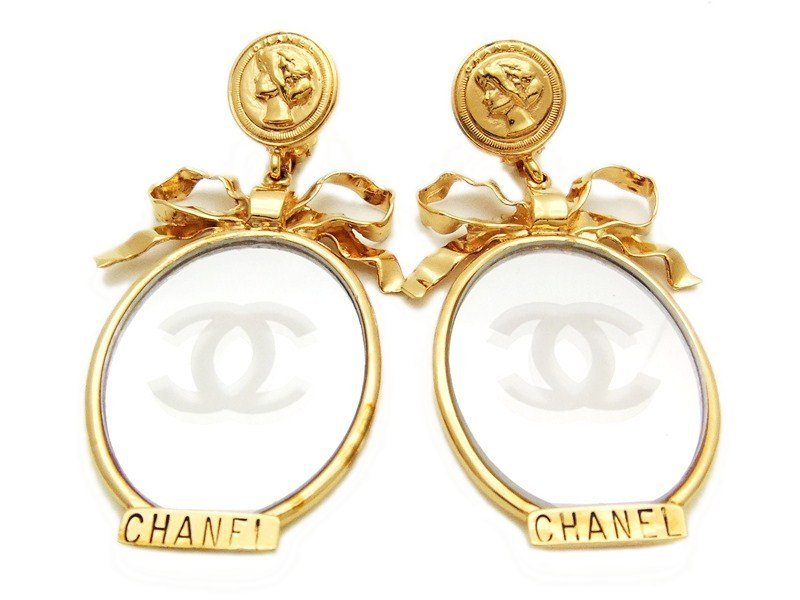 "Image of ""Chanel CC Logo Gold Tone Metal Mirror Medal Ribbon Dangle Earrings"""