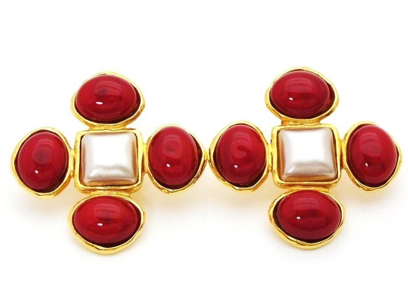 "Image of ""Chanel CC Logo Gold Tone Metal Red Glass Stones White Pearl Cross"""