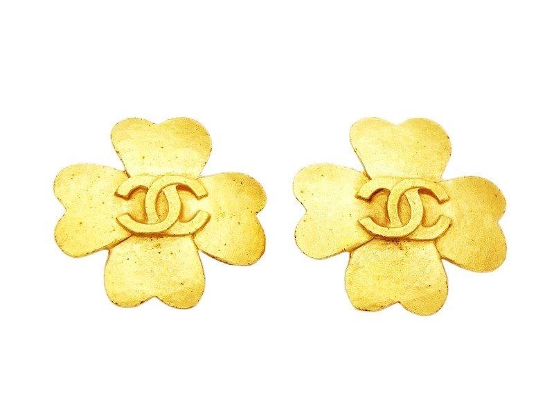 "Image of ""Chanel CC Logo Gold Tone Metal Clover Clip On Earrings"""