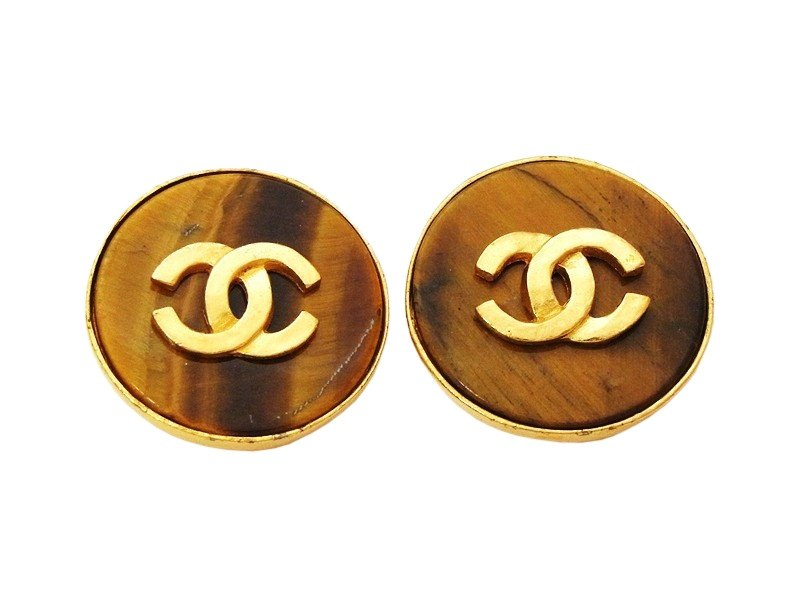 """Image of """"Chanel CC Logo Gold Tone Metal & Wood Brown Stone Round Earrings"""""""