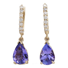 14K Yellow Gold 4.65ct Tanzanite and Diamond Earrings