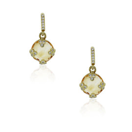 Judith Ripka 18K Yellow Gold & Citrine Diamond Earrings