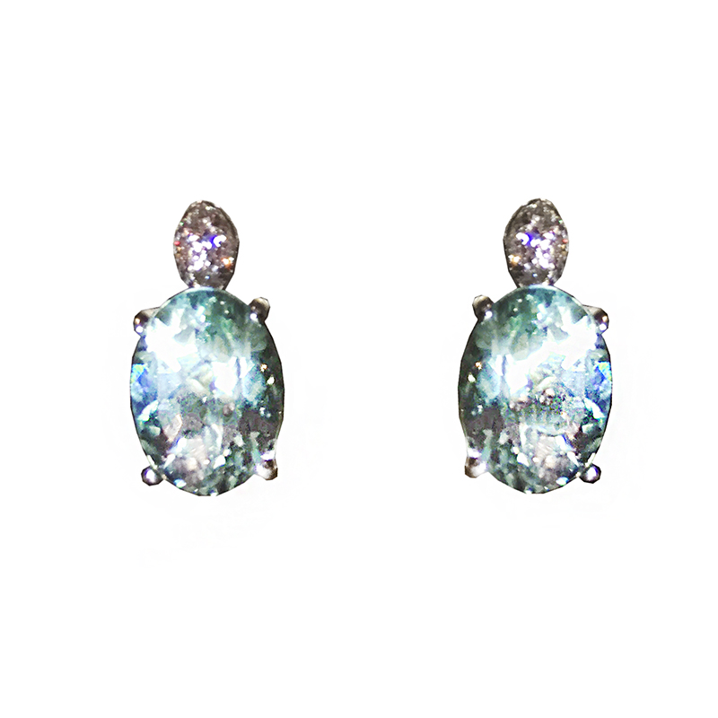 "Image of ""H. Stern 18K White Gold Aquamarine & Diamond Earrings"""