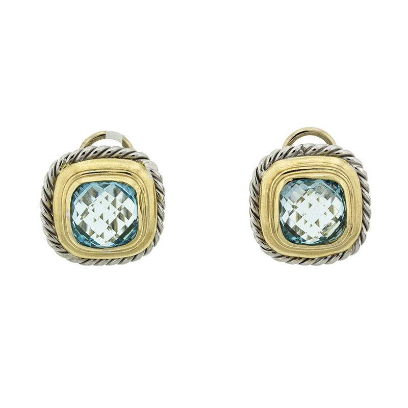 "Image of ""14k White And Yellow Gold Citra Topaz Square Earrings"""