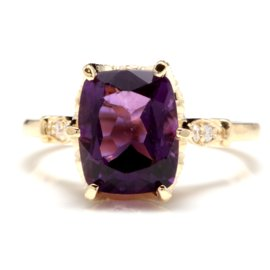 14K Yellow Gold 3.38ct Natural Amethyst and 0.08ct Diamond Ring Size 6.5
