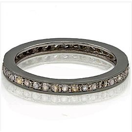 14K Black Gold Over 925 Sterling Silver Diamond Ring Size 7