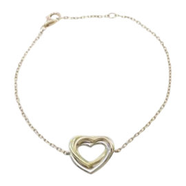 Cartier 18K Yellow White and Pink Gold Trinity Heart Bracelet Size 16.5