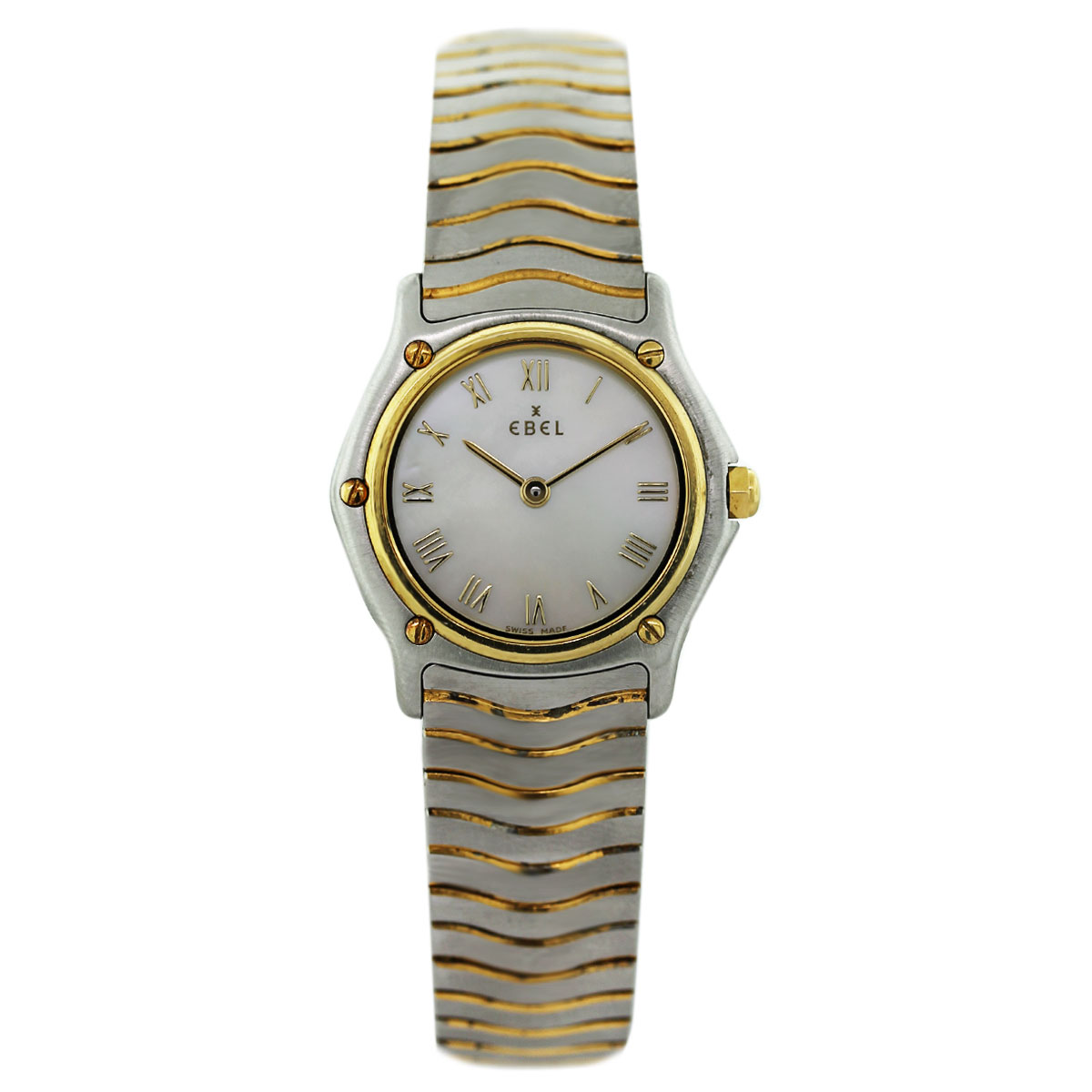 "Image of ""Ebel Wave Two Tone Stainless Steel and 18K Yellow Gold Mother of Pearl"""