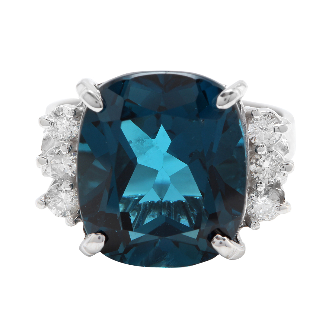 "Image of ""14K White Gold 8.50 CTW Natural London Blue Topaz and Diamond Ring"""