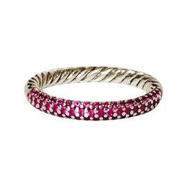 David Yurman Petite Pave Pink Sapphire Ring Size 8