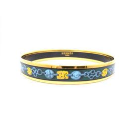 Hermes Gold Tone Metal And Enamel Bangle Bracelet