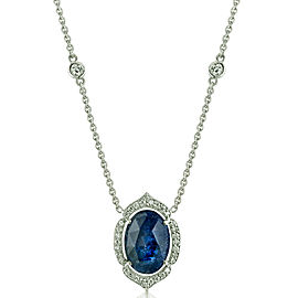 Penny Preville 18K White Gold with Sapphire & 0.38ct Diamond Necklace