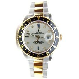 Rolex GMT II 16713 Steel and 18K Gold Model Custom Slate Diamond & Sapphire Dial Watch