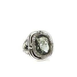 David Yurman Sterling Silver Prasiolite and 0.35ct Diamond Labyrinth Ring Size 7