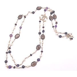 Chanel Gold Twisted CC Two Strand Purple Brown Stone Faux Pearl Necklace