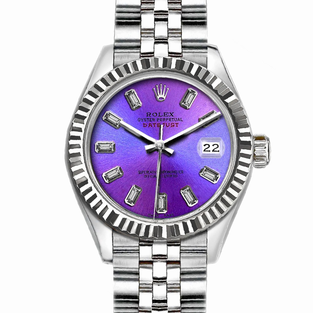 """Image of """"Rolex Datejust Stainless Steel with Orchid Dial 26mm Womens Watch"""""""