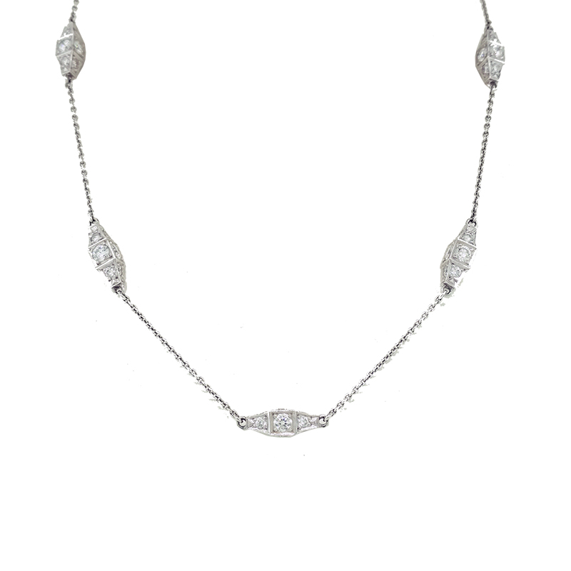 "Image of ""Michael B. Platinum Small Tapered Diamond Cube Necklace"""