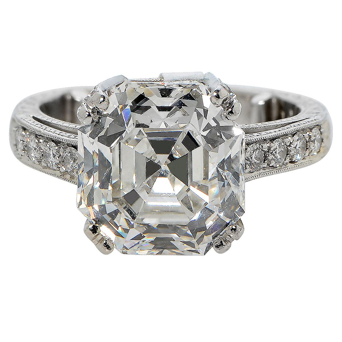 """Image of """"Platinum & 7.17ct Diamond Engagemnet Ring Size 6"""""""