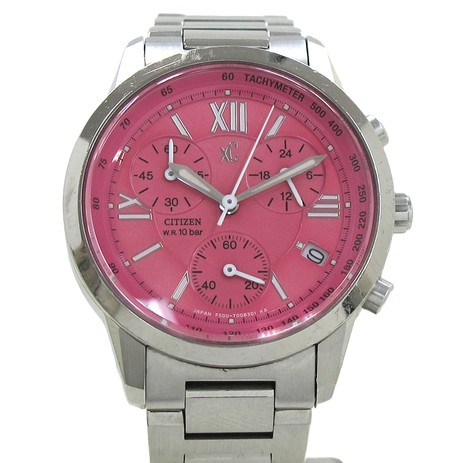 "Image of ""Citizen Cloth-F500 Stainless Steel Pink Dial 31mm Watch"""