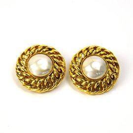 Chanel Gold-Tone Faux Pearl Earrings