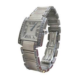 Cartier Tank Française 18K White Gold Diamond 20mm x 25mm Womens Watch