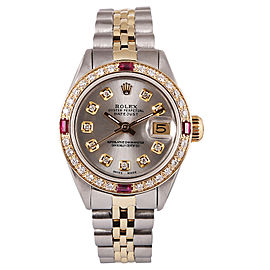 Rolex Datejust 18K Yellow Gold & Stainless Steel Diamond & Ruby 26mm Watch