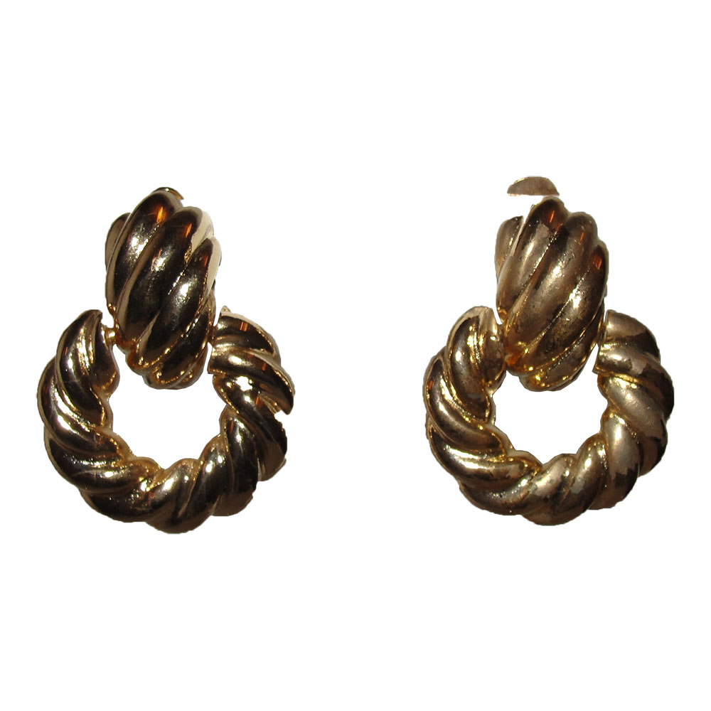 "Image of ""Kenneth Jay Lane 18K Gold Plated Rope Door Knocker Earrings"""