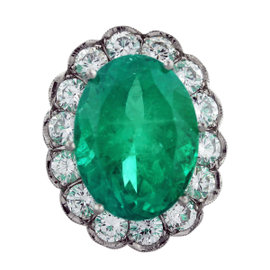 Platinum Oval Emerald Diamond Halo Engagement Ring Size 7.5