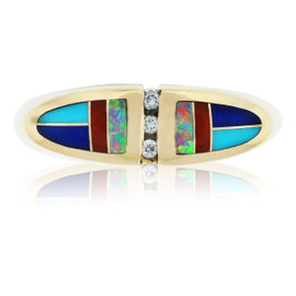 Kabana 14K Yellow Gold Diamond Enamel Opal Cocktail Ring