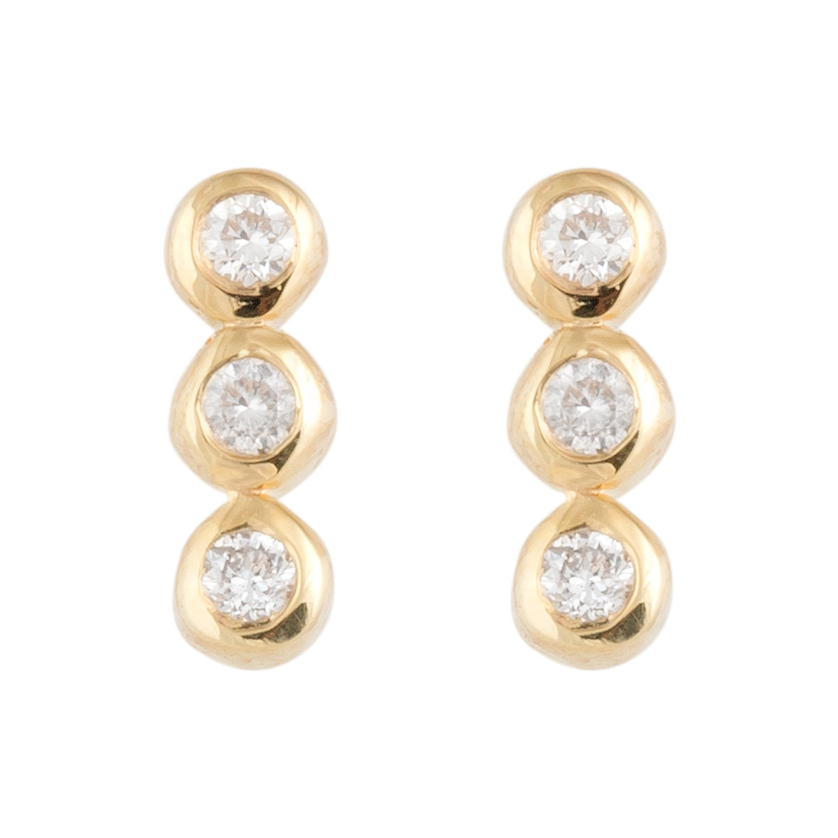 "Image of ""Jordan Scott Design 3 Straight Line Dia Bezel Stud Earring"""