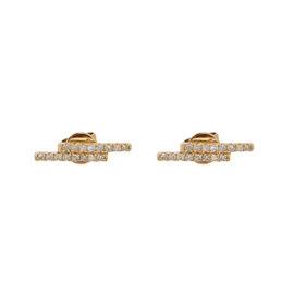 14k Rose Gold Double Line Diamond Studs