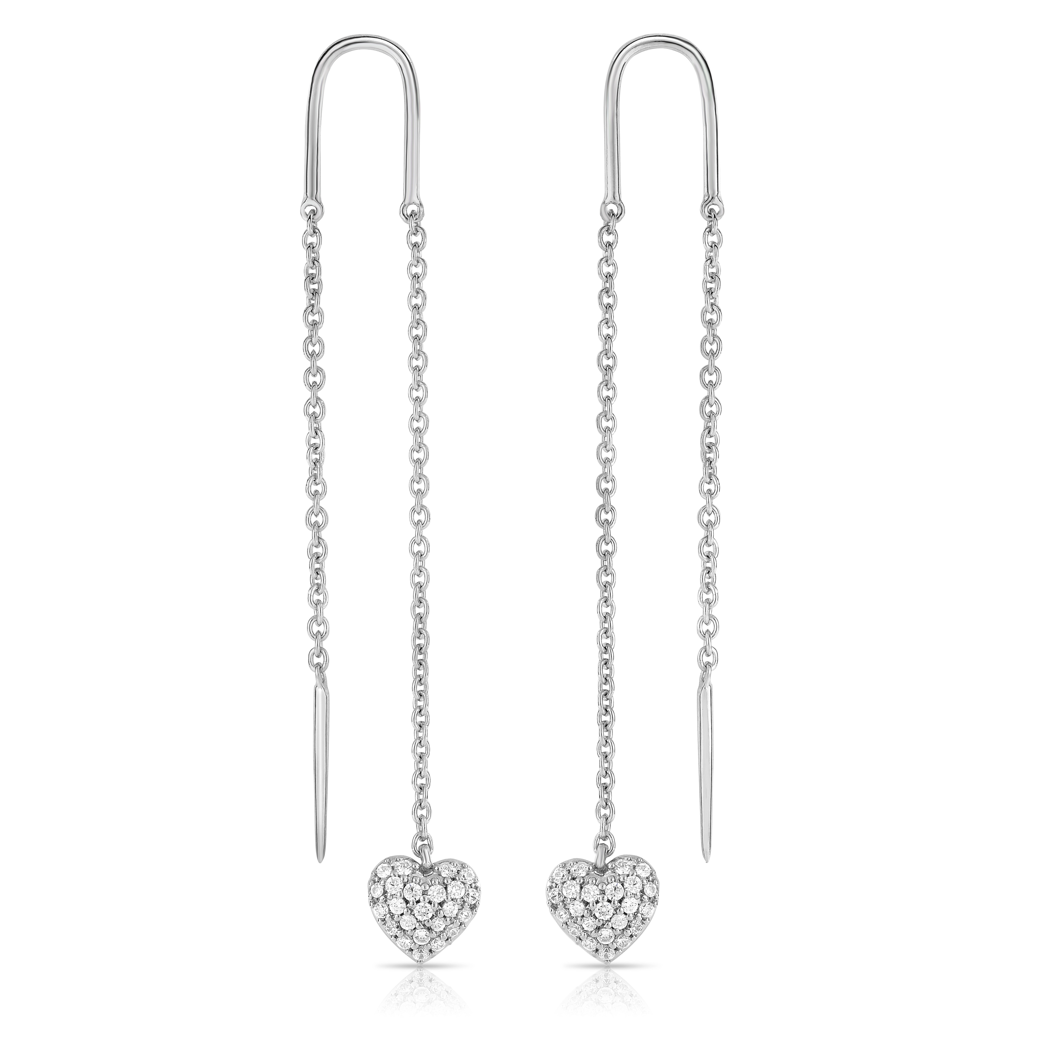 "Image of ""10k White Gold Diamond Threaded Earrings"""