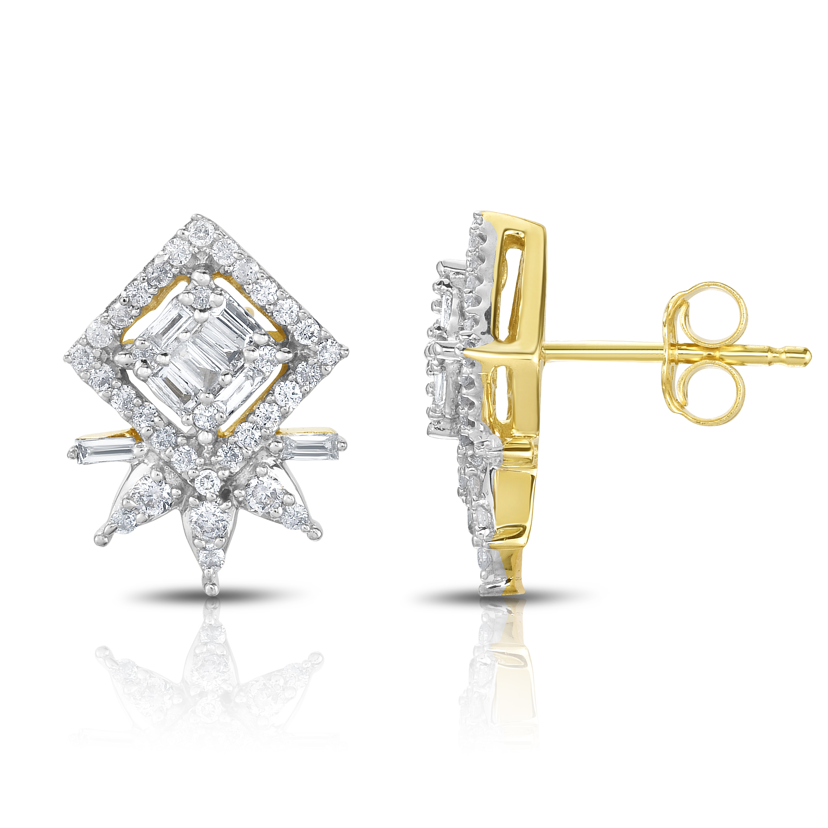 "Image of ""10k Yellow Gold Diamond Star Earrings"""