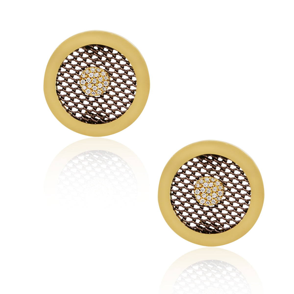 "Image of ""Sabbadini 18K Yellow Gold Stainless Steel 0.23ctw Diamond Clip On"""