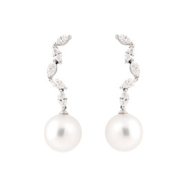 Tara 18k White Gold With 12x13mm Natural Color White South Sea Cultured Pearl and 1.47ct Marquise Diamond Cocktail Earrings