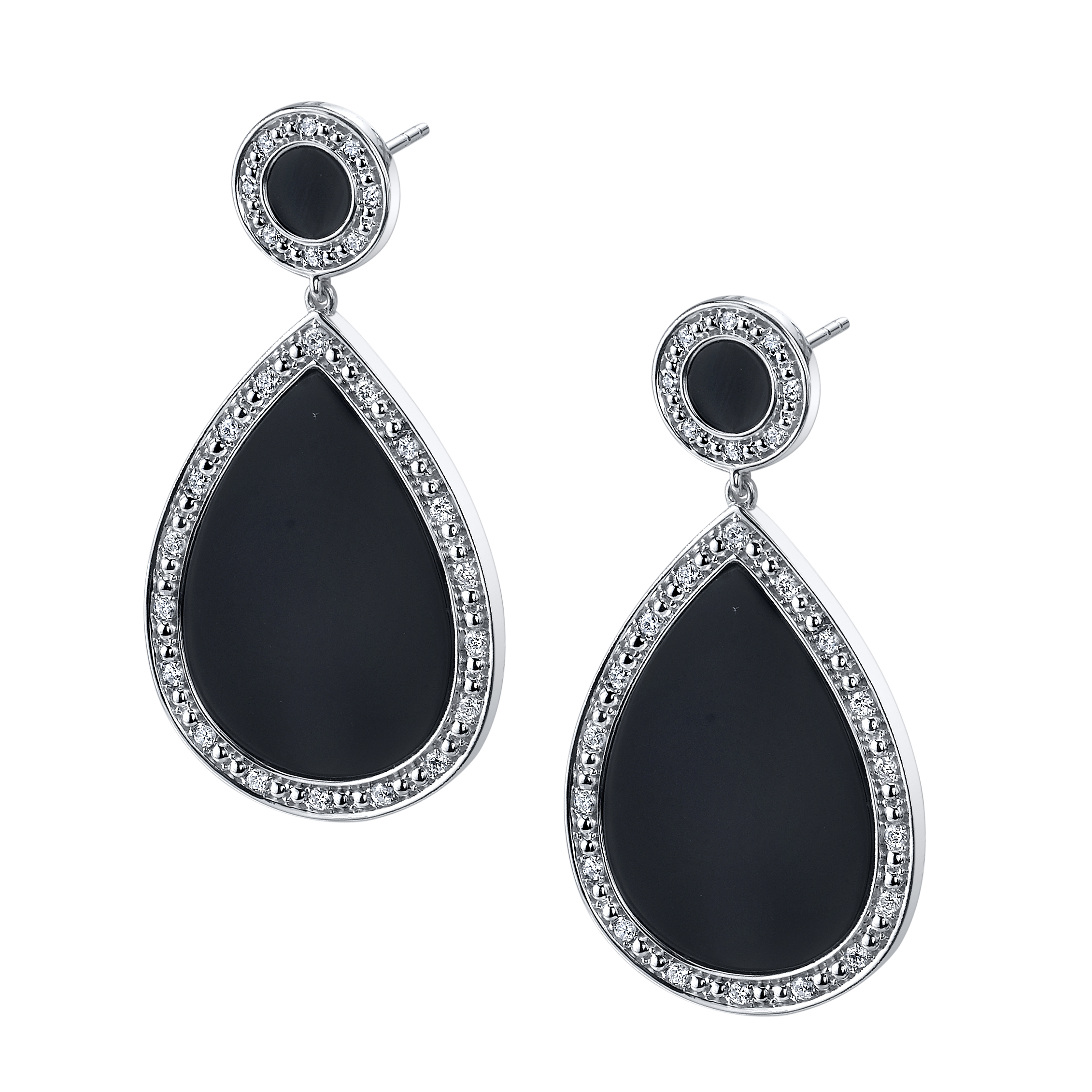 "Image of ""14k White Gold Black Onyx and Diamond Earrings"""