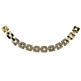 18K Yellow Gold Cut Diamond Link Necklace