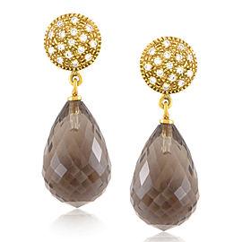 evaNueva 18K Yellow Gold Diamond & Smoky Quartz Earrings